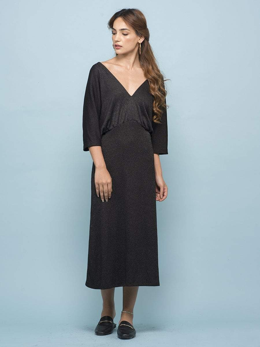 Charcoal Black Drop Shoulder Dress - zooomberg