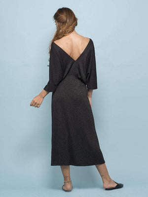Charcoal Black Drop Shoulder Dress - Dresses - Zooomberg - Zoomberg