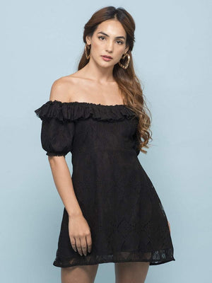 Get Black Spanish Lace Ruffle Dress with RS. 990.00