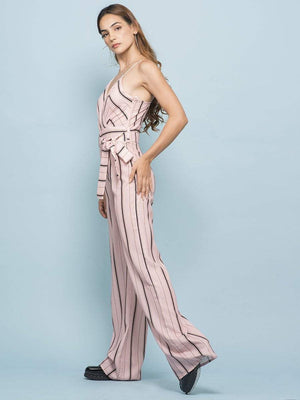 Blush Pink Pencil Striped Jumpsuit