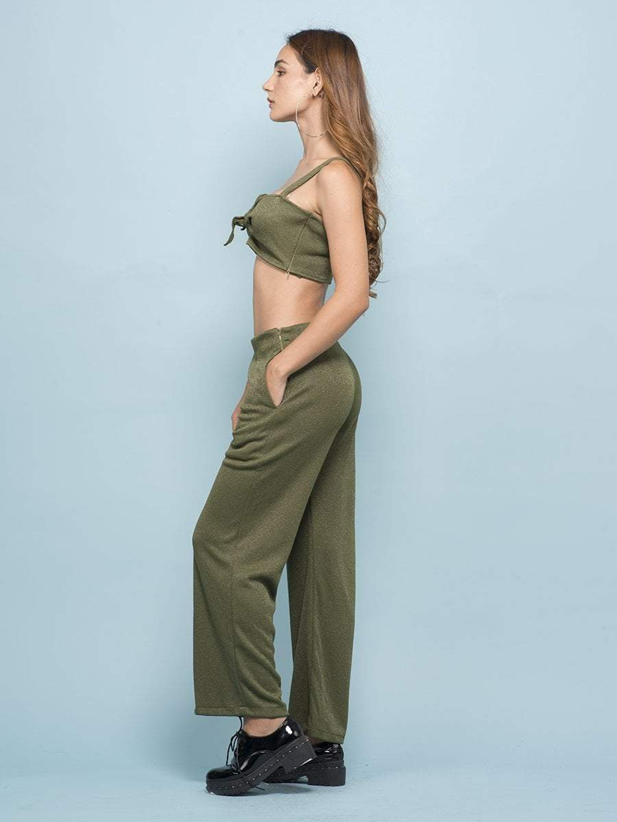 Army Green Shimmer Co-ord - Two Piece Outfits - Zooomberg - Zoomberg