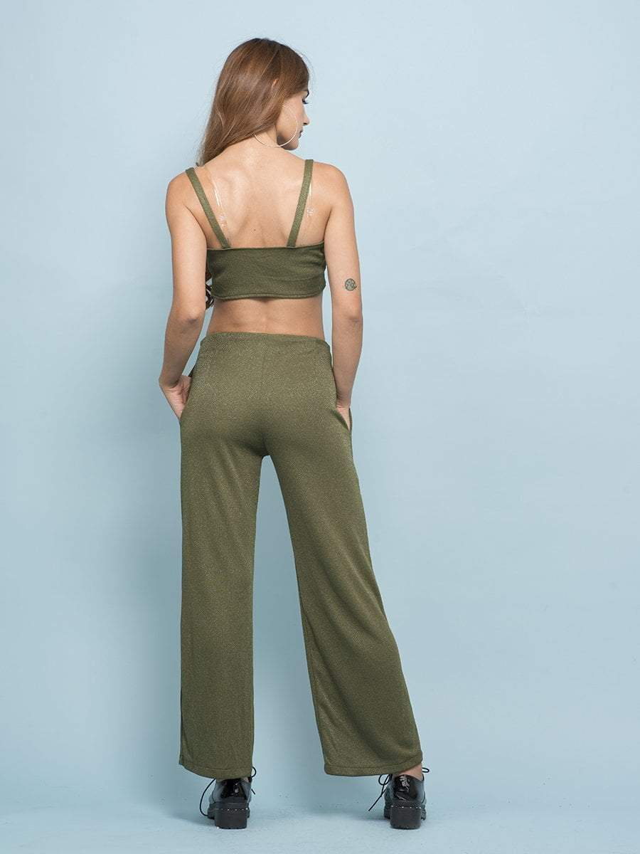 Army Green Shimmer Co-ord - zooomberg