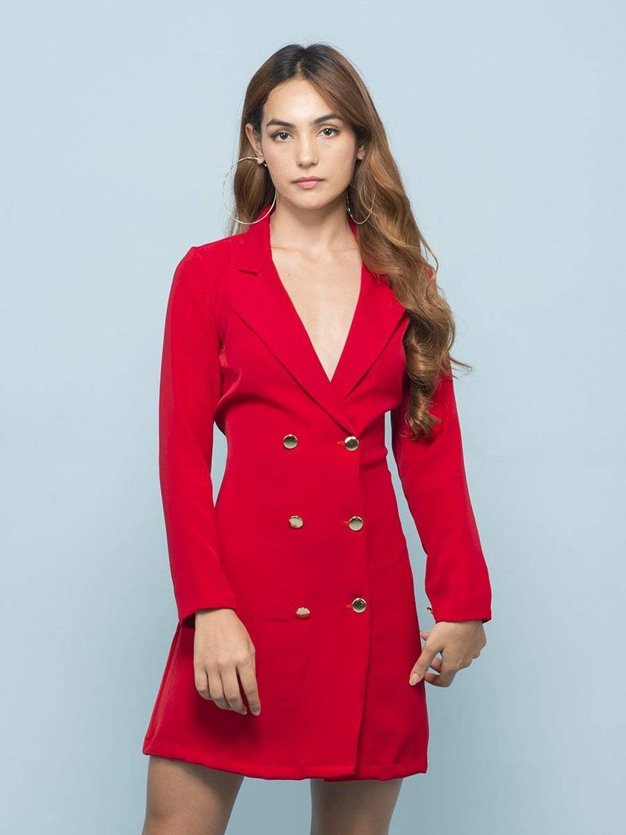 Crimson Red Blazer Dress