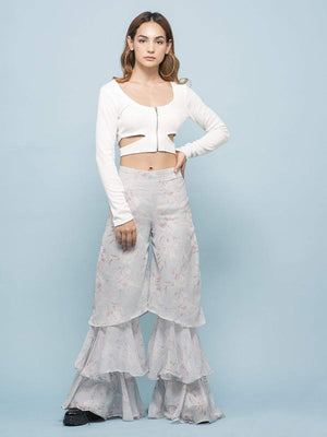 Triangle Cut White Shimmer Top - Tops - Zooomberg - Zoomberg