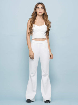 Misty White Crop Top And Pants Co-ord