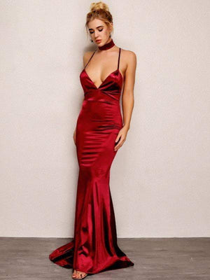 Backless V Neck Maxi Red Evening Dress