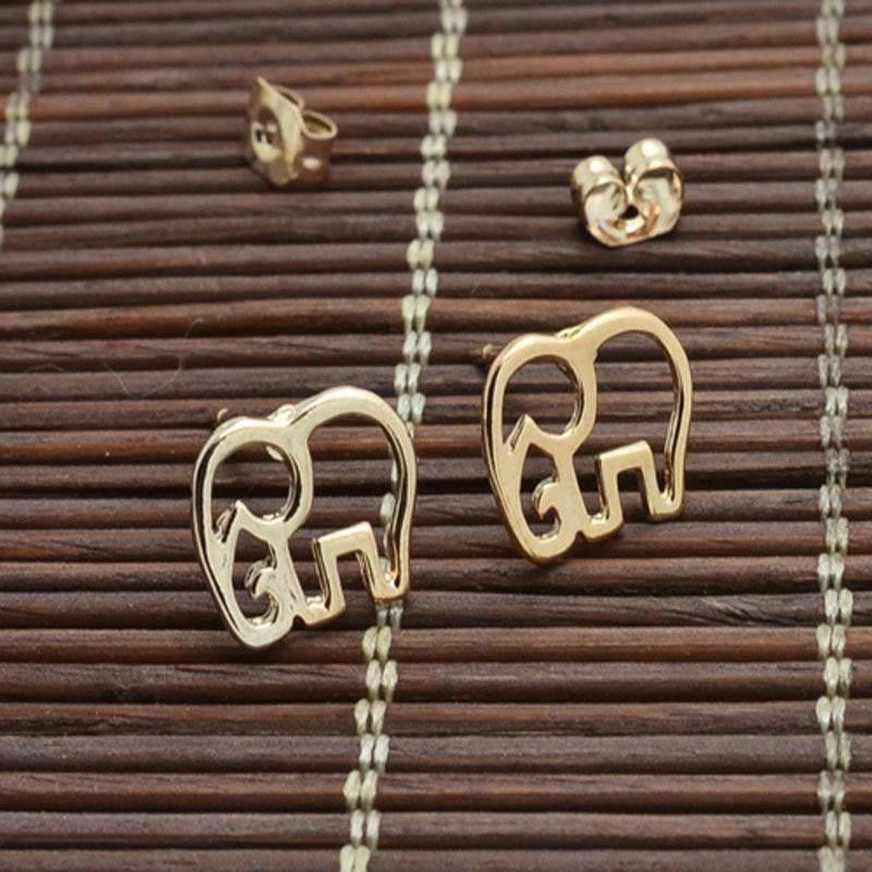Rose gold color cute Elephant giraffe - Earrings - Zooomberg - Zoomberg