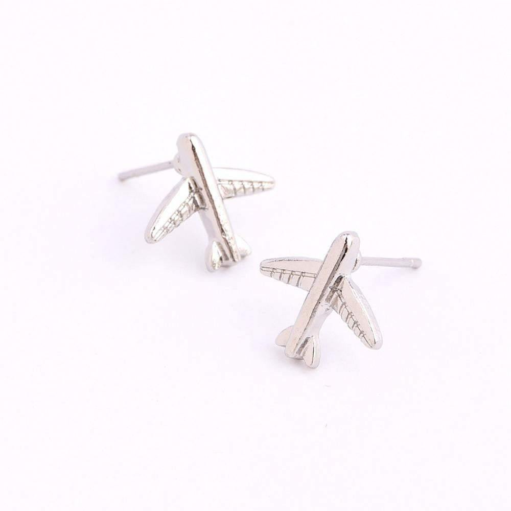 Silver Color Aircraft Stud Earrings