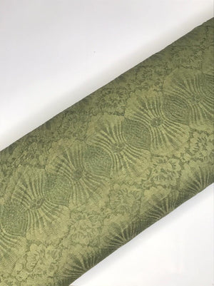 (Cut Piece - 1 Mtrs) Imported Green Floral Lace Fabric (Width - 58 Inches)