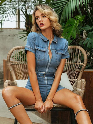Blue Denim Bodycon Party Club Short Jumpsuit - Jumpsuits - Zooomberg - Zoomberg