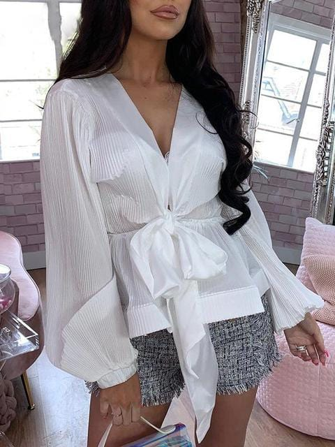Chiffon Pleated V-Neck Lantern Sleeve Casual Shirt Top - zooomberg