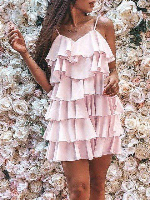 Chiffon Backless Ruffle Dress