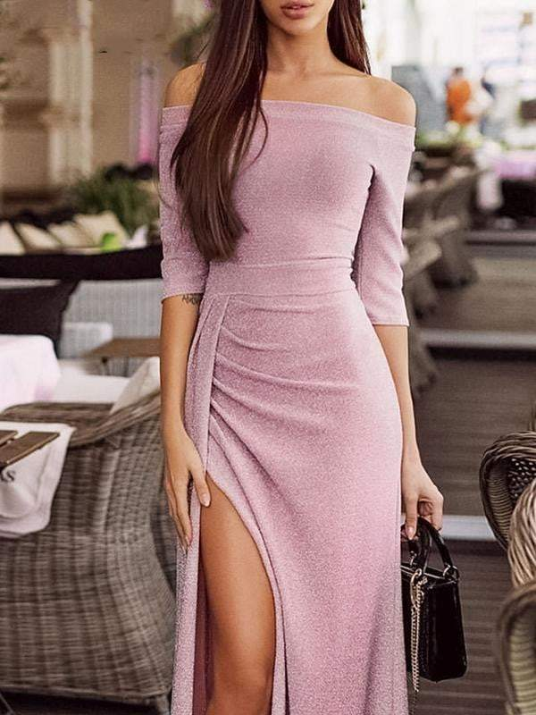 Elegant off shoulder women long dress - zooomberg