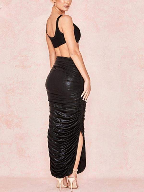 Leather split vintage maxi skirt - zooomberg