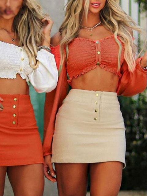 Off Shoulder Patchwork Long Sleeve Ruffle Crop Top - zooomberg