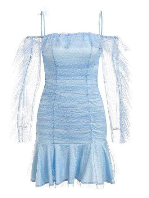 Ruffle Mesh Vintage Dress - zooomberg
