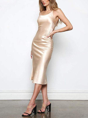 Satin Bodycon Women Dress - Dresses - Zooomberg - Zoomberg