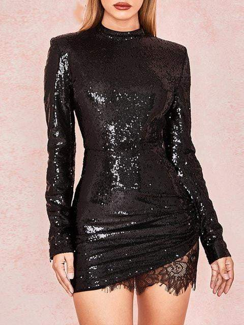 Black Sequins Long Sleeve Bodycon Short Dress