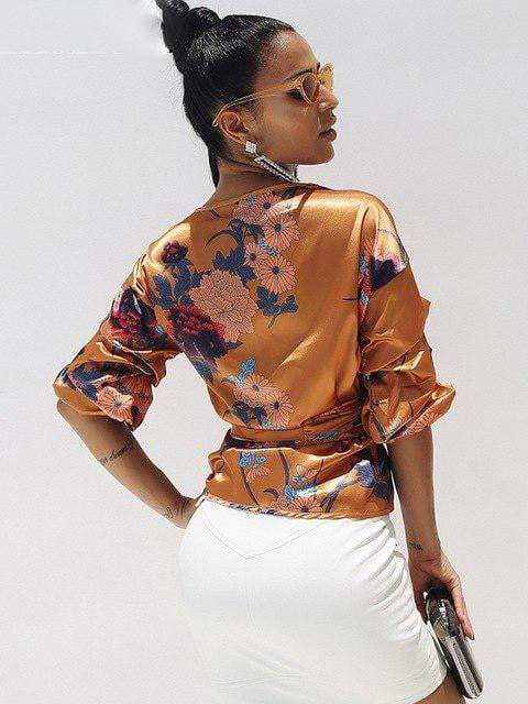 Floral Print Satin Top - Tops - Zooomberg - Zoomberg