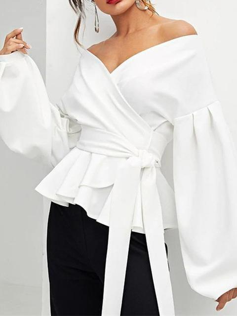Ruffles Off Shoulder Lantern Sleeve Shirt Tops - Tops - Zooomberg - Zoomberg