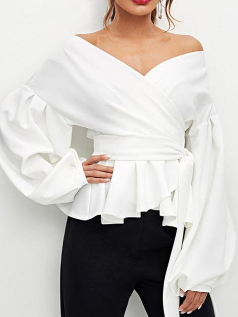 Ruffles Off Shoulder Lantern Sleeve Shirt Tops - zooomberg