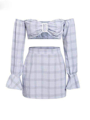Plaid Off Shoulder Two Piece - Dresses - Zooomberg - Zoomberg