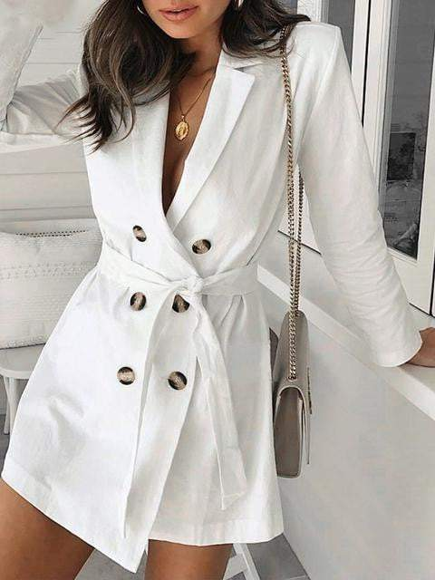 Button Belt White Trench Coat