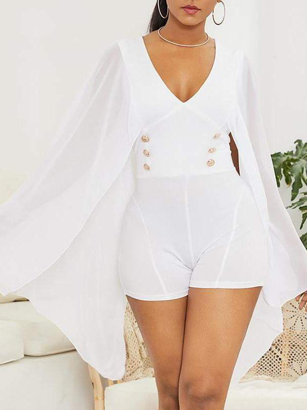 Chiffon Bat Sleeve V-Neck Bodycon Short Jumpsuit - zooomberg