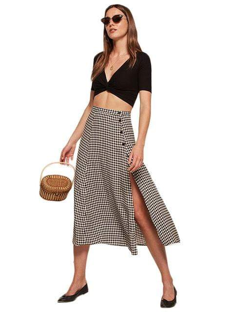 Plaid Split Button Vintage Midi Skirt