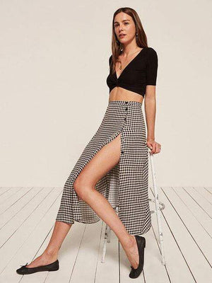Plaid Split Button Vintage Midi Skirt - Skirts - Zooomberg - Zoomberg