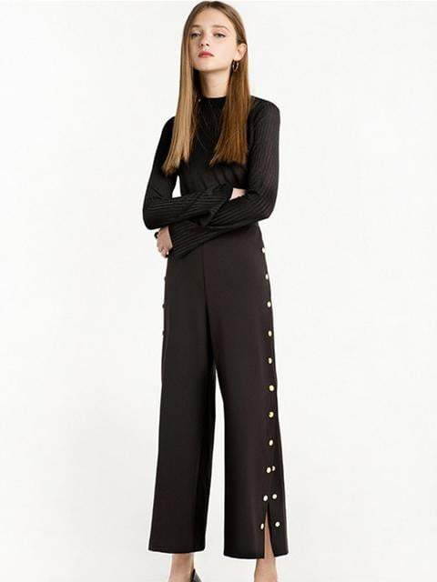 Solid High Waist Split Pant - zooomberg