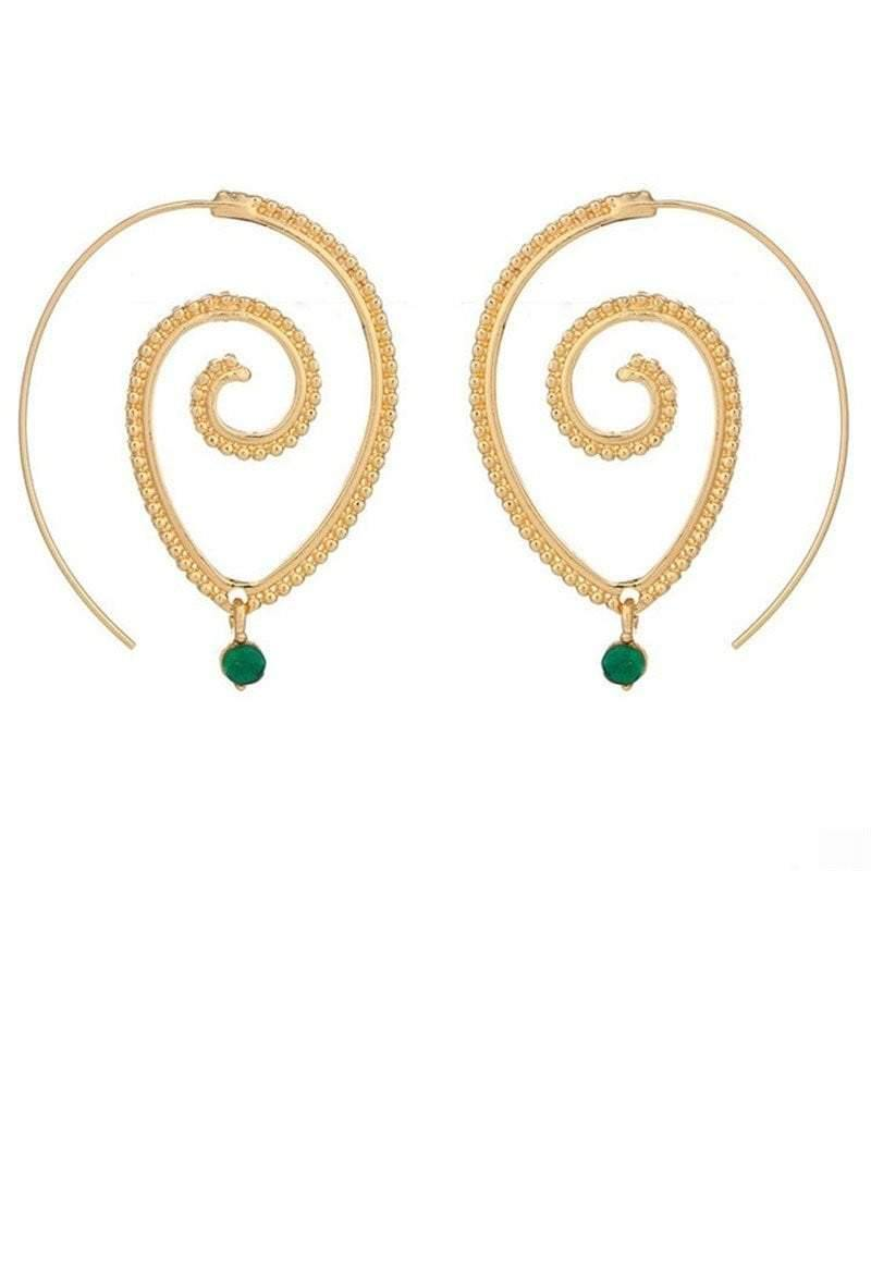 Ethnic Style Geometric Swirl Hoop Earring - Earrings - Zooomberg - Zoomberg