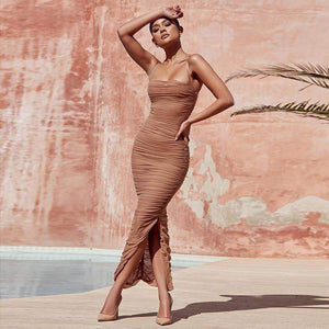 Khaki Chiffon Summer Bodycon Vestido Dress - Dresses - Zooomberg - Zoomberg