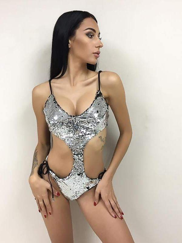 Silver Womens Sexy Backless V Neck Straps Sequin Bodysuit - zooomberg