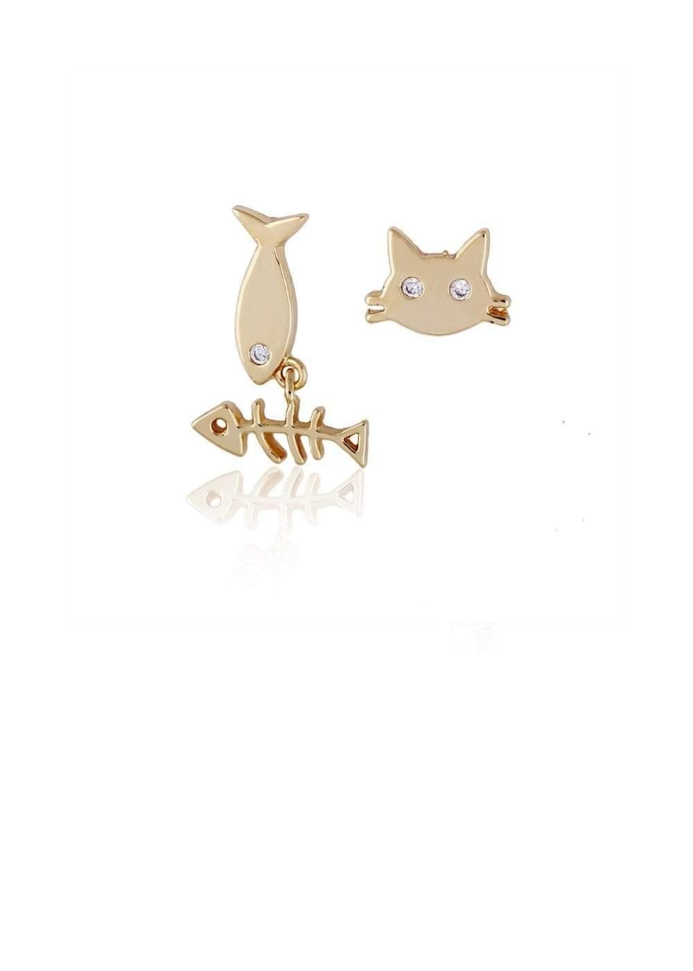 Small Cute Fish Cat Stud Earrings - zooomberg