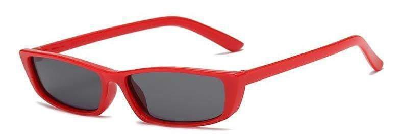 Red Frame Black Lens Rectangle Cateye Sunglasses