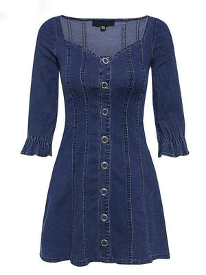 Elegant A-line High Waist button Denim Party Dress - Dresses - Zooomberg - Zoomberg