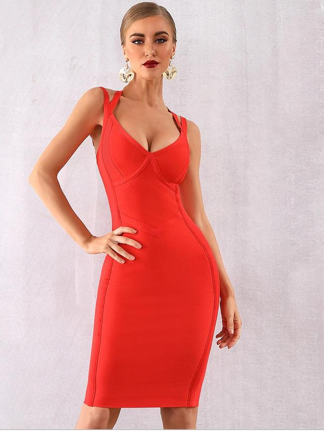 New Summer V Neck Spaghetti Strap Body Con Bandage Dress - zooomberg