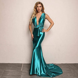 Blue Elegant Backless Satin Long Dress - Dresses - Zooomberg - Zoomberg