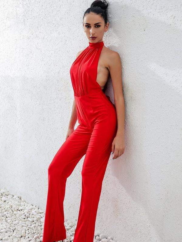 Red Jumpsuits Sexy Back Hollow Bandage Rompers - zooomberg