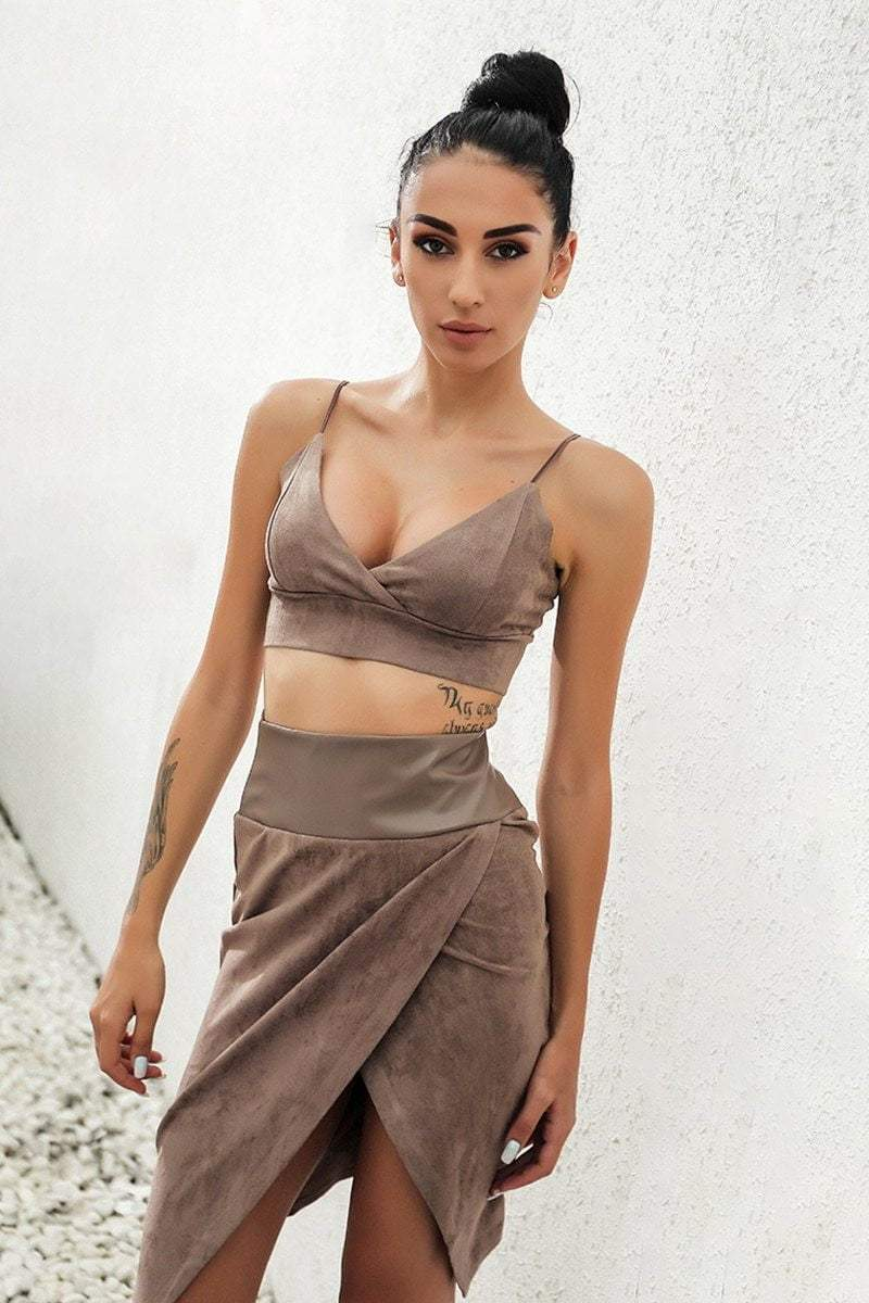 Brown Backless V-Neck Women Co-Ord - zooomberg