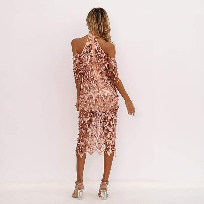 Apricot High Neck Split Sequin Women Tassel Clubwear Party Dresses - zooomberg