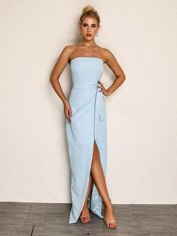 Backless Strapless Chiffon Blue Dress - Dresses - Zooomberg - Zoomberg