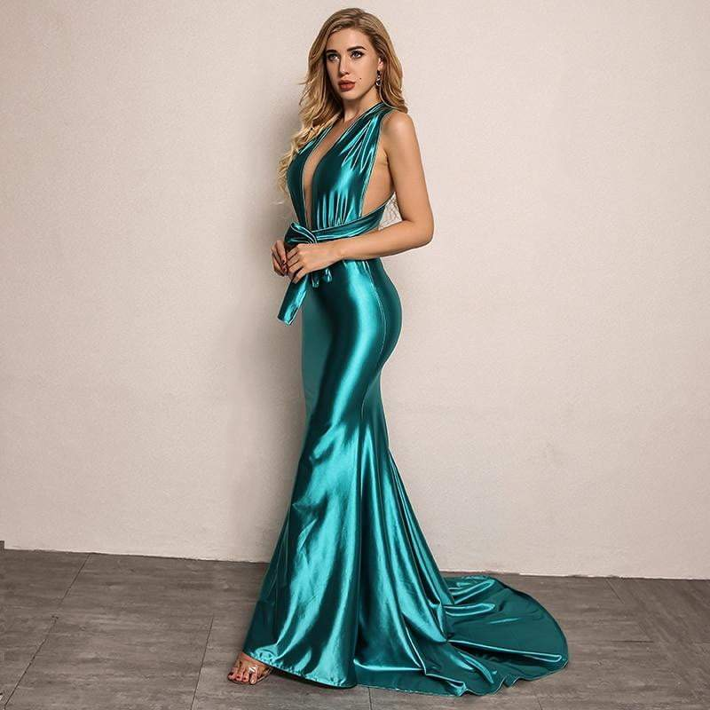 Blue Elegant Backless Satin Long Dress - zooomberg