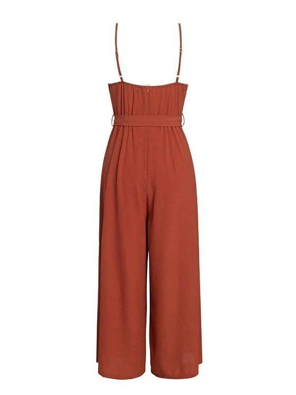 V-Neck Elegant Jumpsuit