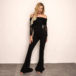 Black Off Shoulder Sexy Rompers Womens Jumpsuit - Jumpsuits - Zooomberg - Zoomberg