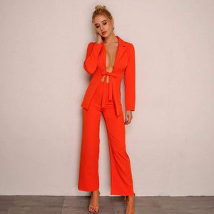 Orange Drawstring Bow Rompers Womens Jumpsuit - Two Piece Outfits - Zooomberg - Zoomberg