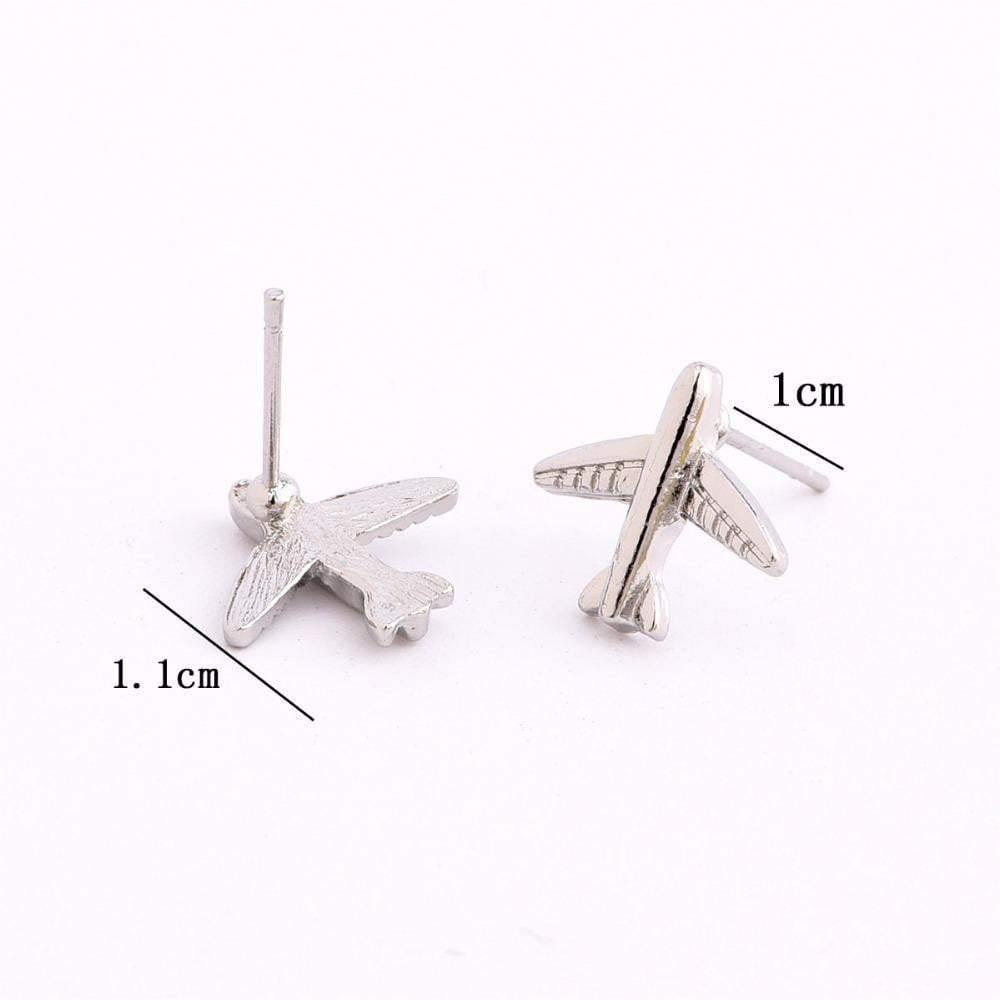 Silver Color Aircraft Stud Earrings - zooomberg