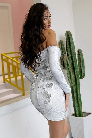 White Off Shoulder Sequin Bodyscon White Dress - Dresses - Zooomberg - Zoomberg