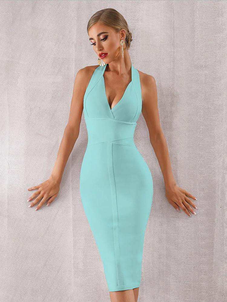 Halter Bodycon Bandage Deep V Backless Party Dress - Dresses - Zooomberg - Zoomberg